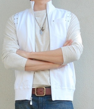 Beige T-shirt with White Vest