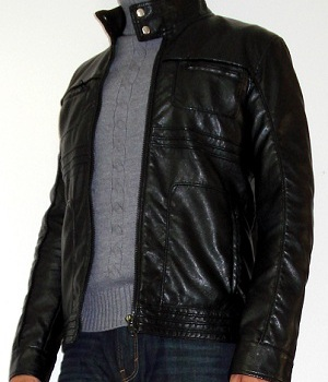 Black Leather Jacket, Gray Turtleneck Sweater
