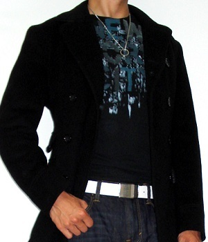 Black Pea Coat, Black Graphic T-Shirt, Dark Blue Jeans