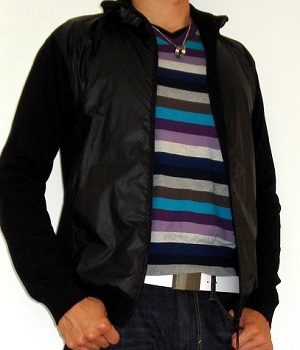 Black Jacket Purple Striped Sweater
