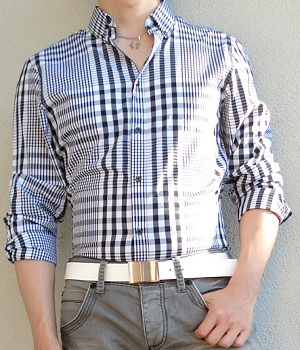 Black White Checkered Shirt, Gray Jeans, White Belt