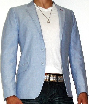 White T-shirt Blue Blazer Dark Blue Jeans
