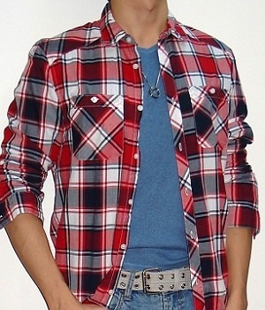 Blue T-Shirt and A Red Black White Plaid Shirt