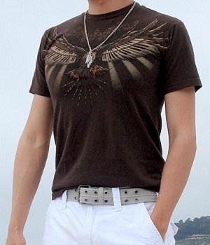 Brown Graphic Tee White Shorts