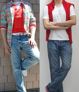Two outfits where dark skin tone blends well with the red color tops