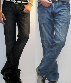 Bootcut jeans on the left and straight leg jeans on the right for comparison
