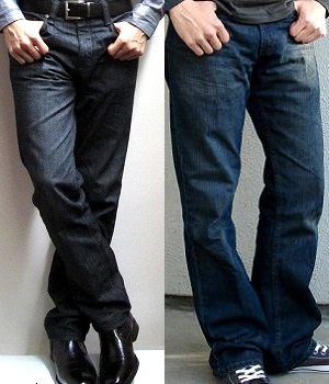 Well fitting jeans on the left and loose fitting jeans on the right for comparison