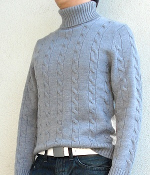 Banana Republic Gray Turtleneck Sweater, White Belt, Dark Blue Jeans