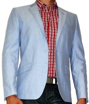 Light Blue Blazer With Red Checked Shirt