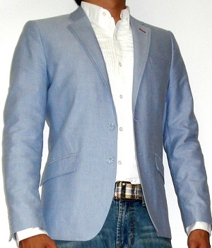 Light Blue Blazer With White Dress Shirt