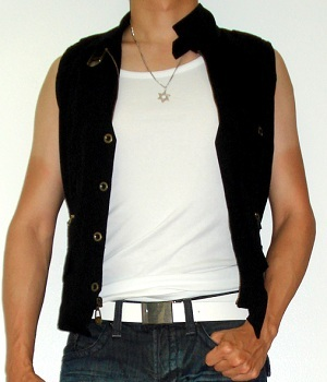 White Tank Top under Black Vest