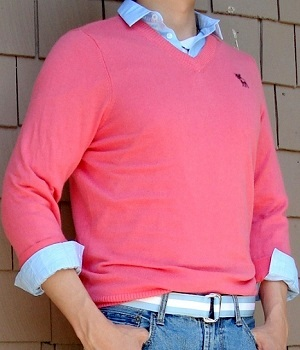 Men's Abercrombie & Fitch Pink V-Neck Sweater