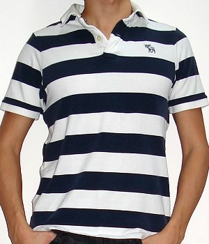 Men's Abercrombie & Fitch Polo In White And Dark Blue Wide Stripes