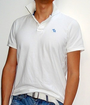 Men's Abercrombie & Fitch White Polo