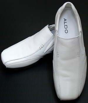 ALDO White Leather Slip On Shoes