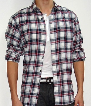 Men's American Eagle Black Red White Plaid Long Sleeve Shirt