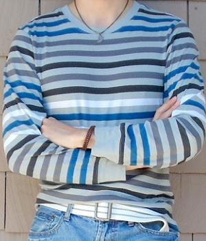 Men's Anchor Blue Grey Striped T-Shirt