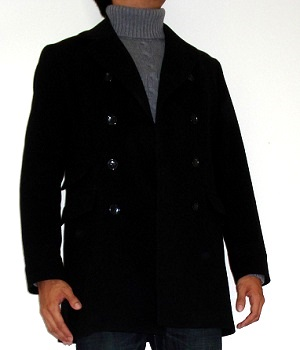 Men's Banana Republic Black Wool Pea Coat
