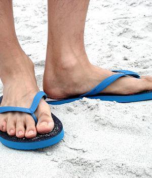 Black Blue Flip Flops