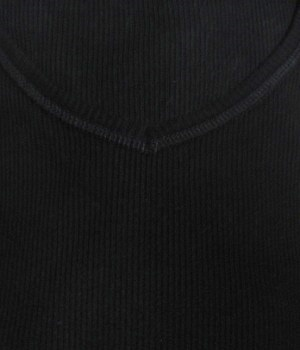 Men's NET Solid Black Ribbed Long Sleeve V-Neck Sweatshirt