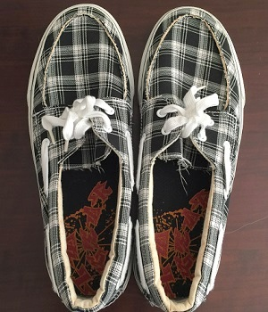 Men's Black Canvas Plaid Lace Up Sneakers