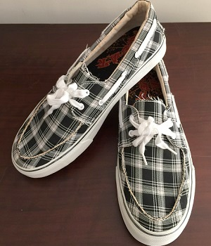 Black Canvas Plaid Lace Up Sneakers