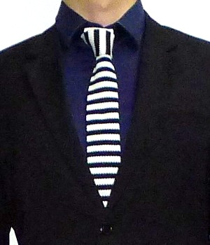 Men's Black White Striped Square End Necktie