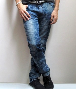 Men's Blue Skinny Snow Jeans