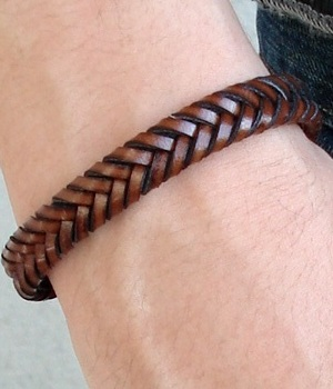 Men's H&M Brown Braided Leather Bracelet