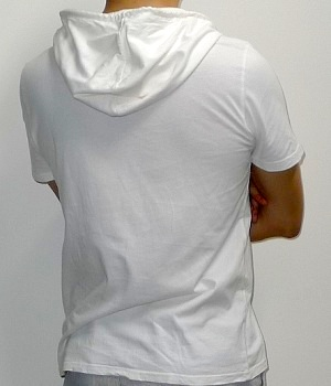 Men's Calvin Klein White Short Sleeve Hooded Graphic T-Shirt