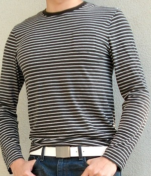 Club Monaco Black Striped T-Shirt - Men's Fashion For Less