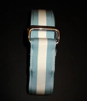 Men's Club Monaco Blue White Nylon Webbing Ribbon Belt