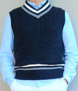 A dark blue sweater vest over a light blue shirt