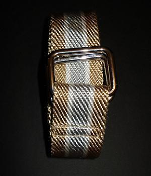 Men's Club Monaco Gold Striped Webbing Belt