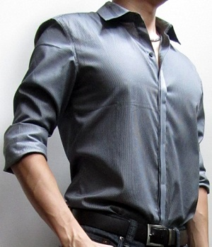 Dark grey dress shirt with a black leather belt and black jeans