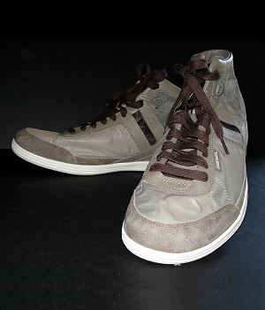 Diesel Grey Leather Fashion Sneakers