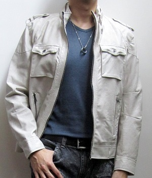 Beige Military Zip Leather Jacket, Blue T-shirt
