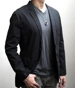 Men's Express Black Cotton Two Button Jacket