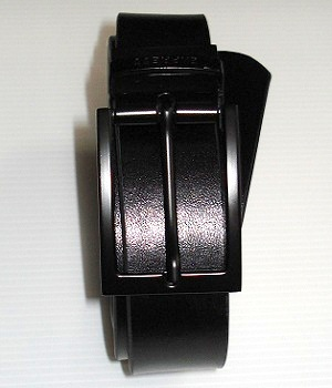 Men's Express Black Leather Belt With Black Rectangle Buckle