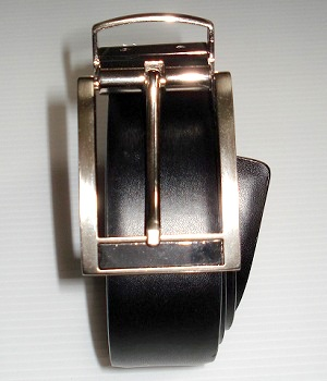 Men's Express Black Leather Belt With Silver Rectangle Buckle