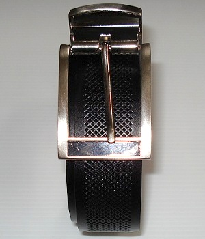 Men's Express Black Textured Leather Belt With Silver Rectangle Buckle