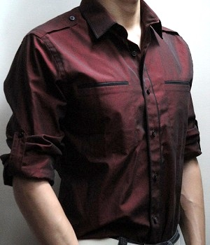 Express Dark Red Fitted Piped Military Shirt