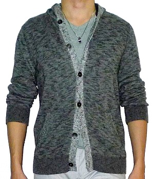 Express Gray Marled Button Sweater Hoodie - Men's Fashion For Less