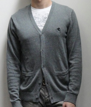 Men's Express Gray V-Neck Pocket Cardigan