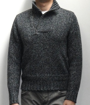 Men's Express Marled Dark Gray Half Zip Mock Neck Sweater