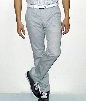 Men's Express White Cotton Pinstripe Straight Suit Pants