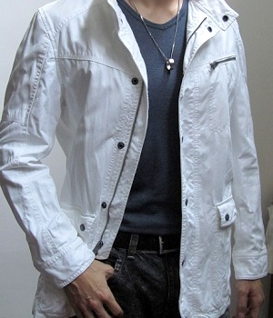 Men's Fashionable White Casual Zip Button Jacket