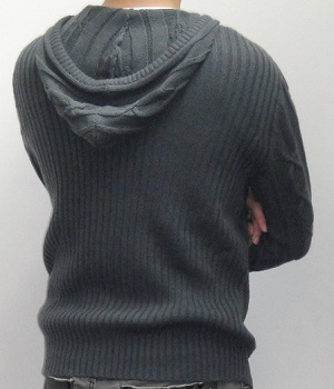 Men's G By Guess Dark Gray Cable Knit Sweater Hoodie