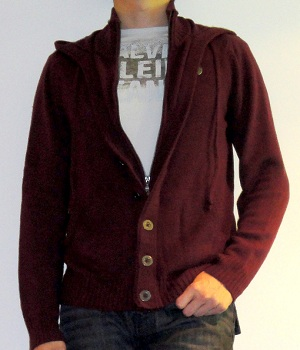 G By Guess Dark Red Hoodie Cardigan