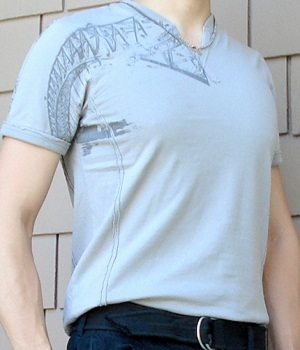 Men's G By Guess Gray Slit Neck Graphic Tee